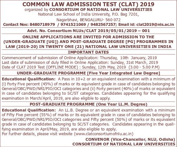 Clat Notification 2019